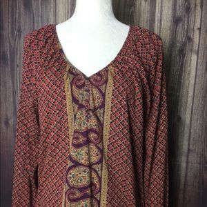 Lucky Brand V-Neck Tunic Top Size M Red Floral